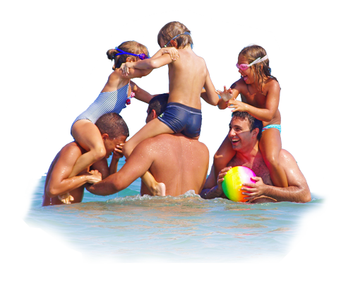 Family Play in Paralia Katerini Beach